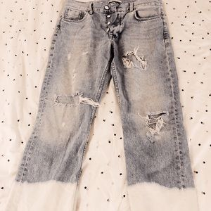 Zara Distressed Light Wash Denim with Bleached End